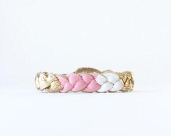 Pink White & Gold Stacking Bracelet, Thin Gold Bangle Stacking Braid, Gold Bracelet, Diffuser Bracelet, Bracelet for Kids, Girls Bracelet