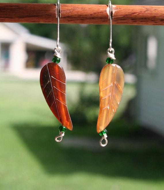 Sterling Silver Bone Leaf Earrings (gb)