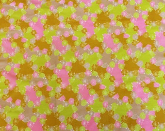 Bright Contrast Pink, Green and Mustard 1970s Floral Printed Cotton 3+ yards