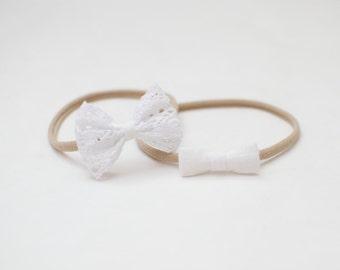 Natural Organic Linen White Mini Tiny Bow Small Lace Headband One size