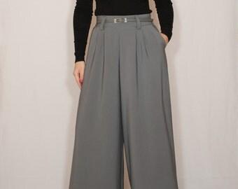 Gray pants with pockets High waist Wide leg pants