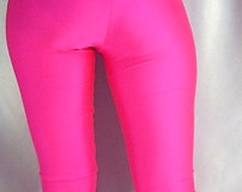 High Waisted neon footed spandex leggings / tights pink, yellow, green