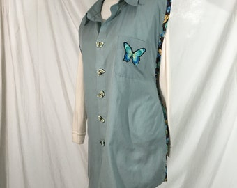 Blue Butterfly Apron