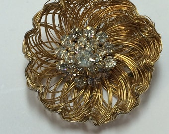 Signed Weiss Gold Tone Wire Flower with Rhinestone Center Matching Clip on Earrings Set 9655