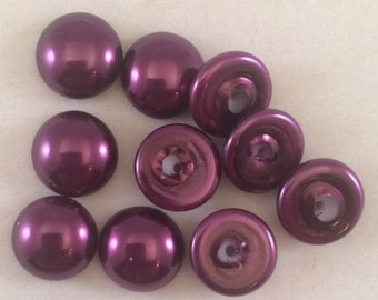 Glass Pearl Cabochons, 10mm, Purple, 70979, 8 Pieces, Czech Glass