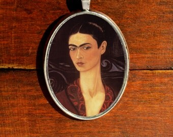 Frida Kahlo Necklace Frida Kahlo Jewelry Valentines Day Gift Feminist Necklace Frida Kahlo Pendant Frida Kahlo Portrait Velvet Art Jewelry
