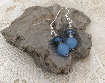 Light blue earrings with faceted blue beads and blue rondelle beads