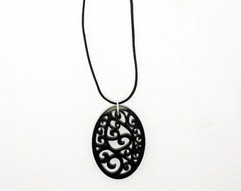 Black Swirl Pattern Laser Cut Acrylic Pendant