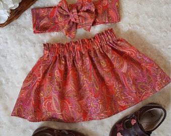 Orange Paisley skirt toddler girls skirt