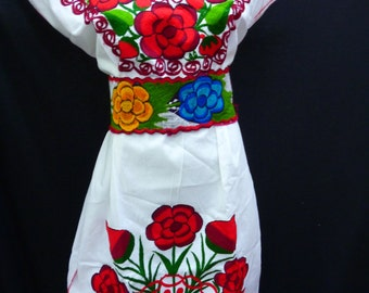 mexican dress mexican peasant dress mexican dress, mayan, vintage huipil M-L, F3