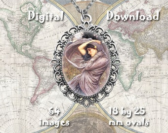 John Waterhouse - Digital Download, 18mm by 25mm ovals on 8.5 x 11 paper, printable images for pendants, bezel crafts