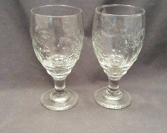 Vintage Set of 2 Fruit Embossed Wine Glasses Goblets Stemware