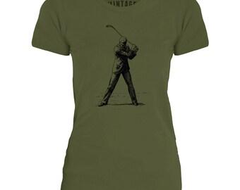 Mintage 19th Century Golfer  Womens Fine Jersey T-Shirt