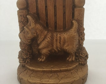 Vintage Bookend-- Scotty Dog Bookend--Chalkware Dog Bookend--Scotty Dog and Fence Bookend--Old Bookend--Vintage Dog Bookend-Scottish Terrier