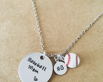 Baseball Mom / Basketball Mom / Soccer Mom hand stamped necklace / Personalized with child's number / Sports Mom jewelry / Sports charms