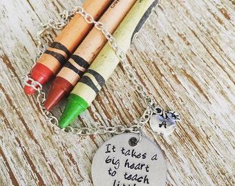 Teacher gift / It takes a big heart to teach little minds / graduation / Thank you gift bracelet / teacher appreciation / bangle bracelet