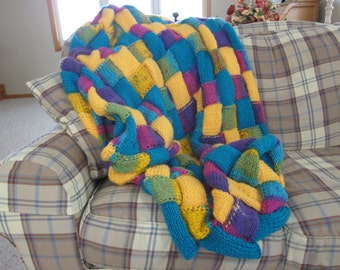 Knitted Entrelac Blanket/Quilt