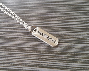Silver Warrior Necklace - Inspirational Jewelry - Personalized Necklace - Custom Gift - Inspirational Jewelry - Warrior Message Necklace