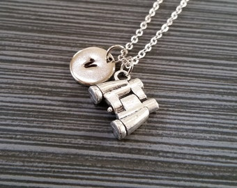 Silver Binoculars Necklace - Birdwatcher Charm Necklace - Personalized Necklace - Custom Gift - Initial Necklace - Unique Gifts Under 10