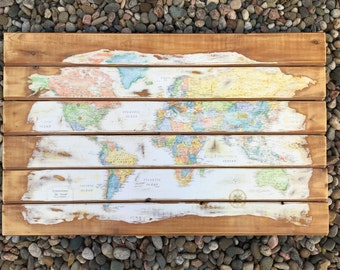 Rustic World Map Wood Wall Art (Extra Large)