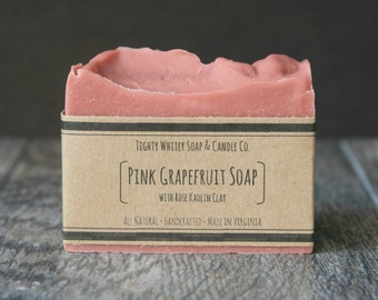Pink Grapefruit Soap - All Natural, Handmade, Vegan Bar Soap - Made with Grapefruit Essential Oil & Rose Kaolin Clay, Morning Citrus Soap