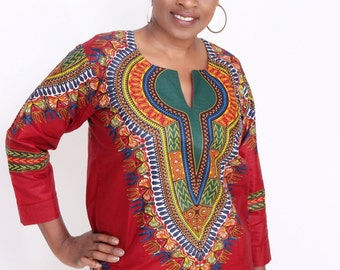 Deep Red Fitted Dashiki Shirt