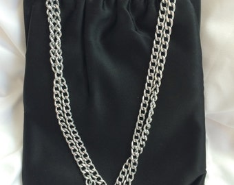 Vintage Black Satin Purse with Silver Chain