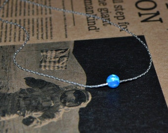 OPAL NECKLACE // Tiny Opal Necklace Silver - Dark Blue Opal Ball Necklace - Dot Necklace - Single Bead Necklace - Opal Bead Necklace