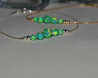 OPAL BRACELET // Kiwi Opal Ball Bracelet - Opal Charm Bracelet - Opal Bead Bracelet - Opal Dot Bracelet - Everyday Opal Bracelet