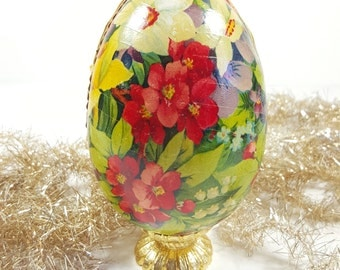 Vintage Antique Paper Mache Egg with Various Flowers, Marked Germany.