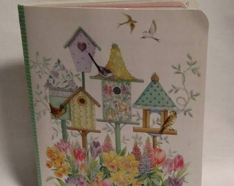 Mixed paper notebook - birdhouses