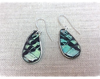 Real Butterfly Jewelry, Real Butterfly Earrings, butterfly wings, butterfly, hand cut wing earrings; TEARDROP; Iridescent, Sunset moth