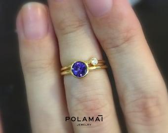 Tanzanite Ring 14k or 18k Gold . Stacking Engagement Ring . Gemstone Ring . Round Blue Pruple AAA Tanzanite . Yellow White Rose Gold