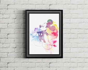 Mickey mouse watercolor Wall Art ,Printable Art, Inspirational Quote, Typography Art, Digital Prints,Wall Art Prints, Digital Download