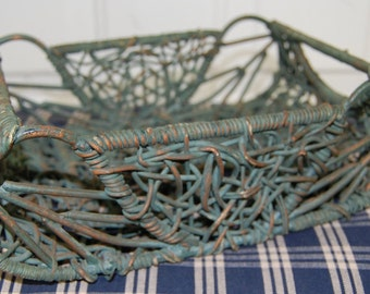 Vintage Copper and Metal Woven Basket