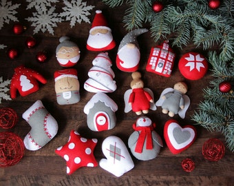 Felt Christmas ornaments Felt Ornaments set Christmas set of ornaments Christmas decoration Christmas decor Red Gray Unique Safe Santa Claus