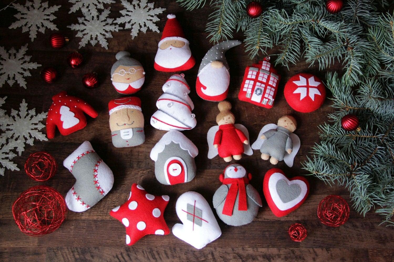 Felt Christmas ornaments Felt Ornaments set Christmas set of