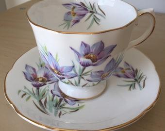 "Royal Grafton ""Manitoba Crocus"" Vintage Teacup and Saucer, Purple & Blue Flower Tea Cup and Saucer, English Floral Bone China"