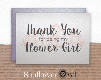 Thank you for being my flower girl thank you card from bride to flower girl wedding party wedding day card bridal party from bride