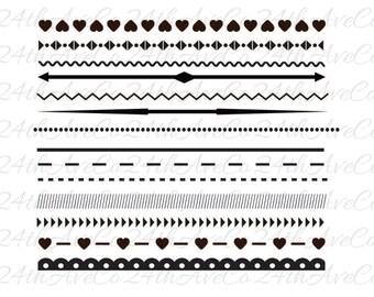 Lines Dividers  .DXF .SVG  .PDF .Png, Cut File, Digital File, Silhouette Studio, Cricut, Hearts, ZIg Zag, Decorative, Arrow, Lace
