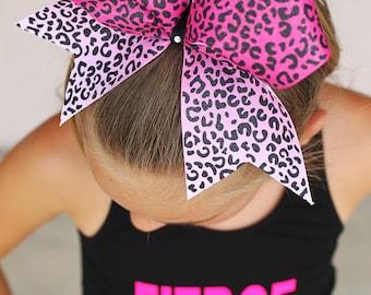 Cheer Bow, Pink Cheer Bow, Cheetah Cheer Bow, Hair Bow, Custom Cheer Bow