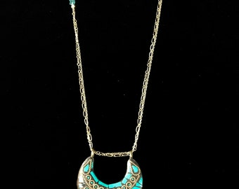 Middle Eastern design Turquoise Inlay Pendant and gold multi chain Necklace