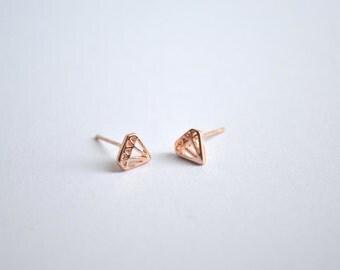 Diamond Stud Earrings Rose Gold Plated