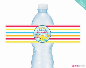 Instant Download O-Fish-Ally First Graders Printable Water Bottle Wrappers, Last Day of School Bottle Label, School Party Water Bottle Wraps