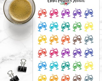 Wine Glass Drinks Icon Planner Stickers (I-027)