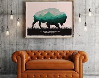 Buffalo poster, Buffalo print, Buffalo art, Yellowstone Buffalo, american bison poster, american wild life art, National parks bison