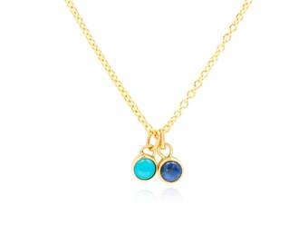 Turquoise Lapis Lazuli  Necklace, Birthstone Necklace, 14K Solid Gold Necklace,  Birthstone, Mother Gift