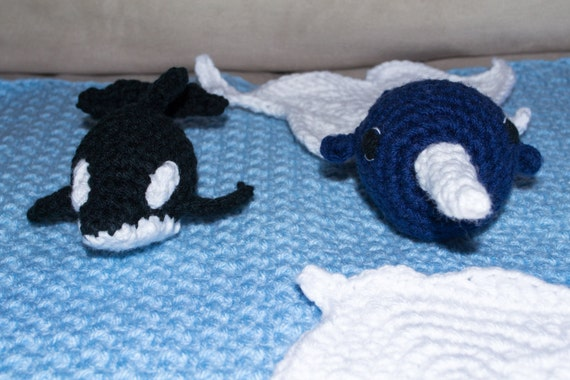 Amigurumi Orca Whale : Items similar to Crochet Arctic Ocean Play Mat approx 16 ...