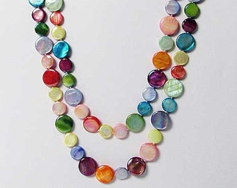 "Colorful 50"" Mother- Of- Pearl Double Strands Necklaces"