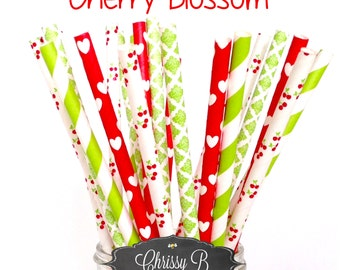 Cherry Red and Lime Green Paper Straws (CHERRY BLOSSOM Theme) Pack of 25 Straws  - Damask, Hearts, Cherries - Birthday Party, Baby Shower